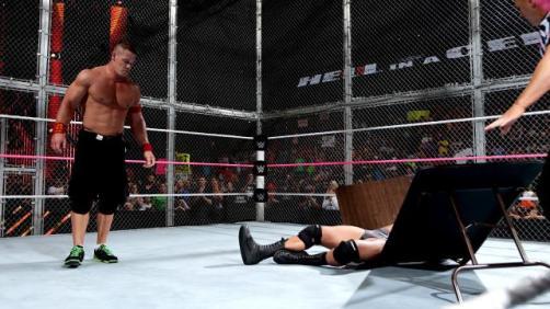 HIAC Cena puts orton through a table