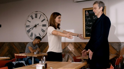 Doctor Who series 8 finale- Doctor and Clara cafe scene