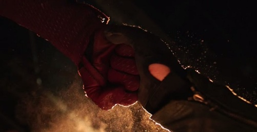 Flash vs Arrow arrow catches the flash's punch