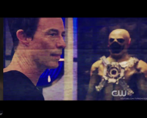 The Flash promo Harrison Wells and Reverse Flash suit
