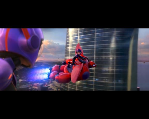 Big Hero 6 Hiro and Baymax flying