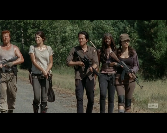 The Walking Dead 1x11 Rosita Michonne Glenn Maggie and Abraham
