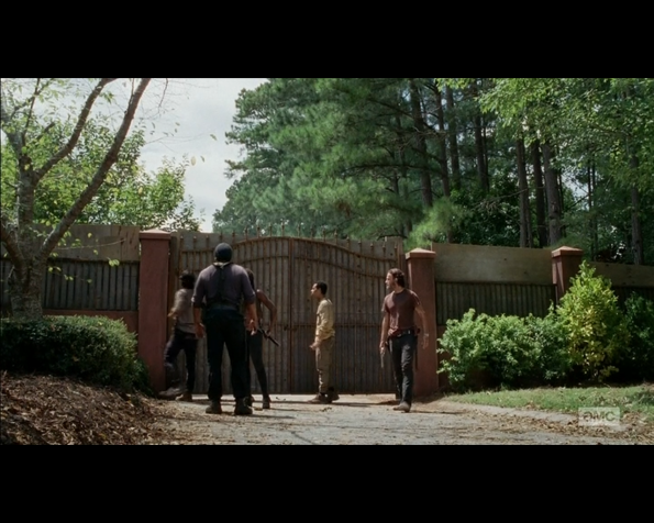 The Walking Dead Rick, Michonne, Glenn, Noah and Tyreese at the gates